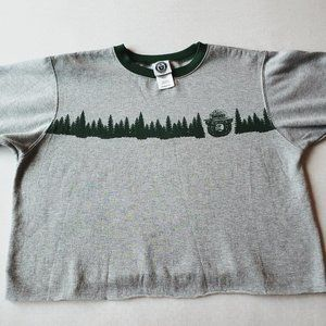 {Smokey the Bear} Gray and Green soft Crop sweater
